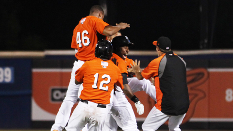 Zelous Wheeler is mobbed by teammates after the game-winning hit Thursday.