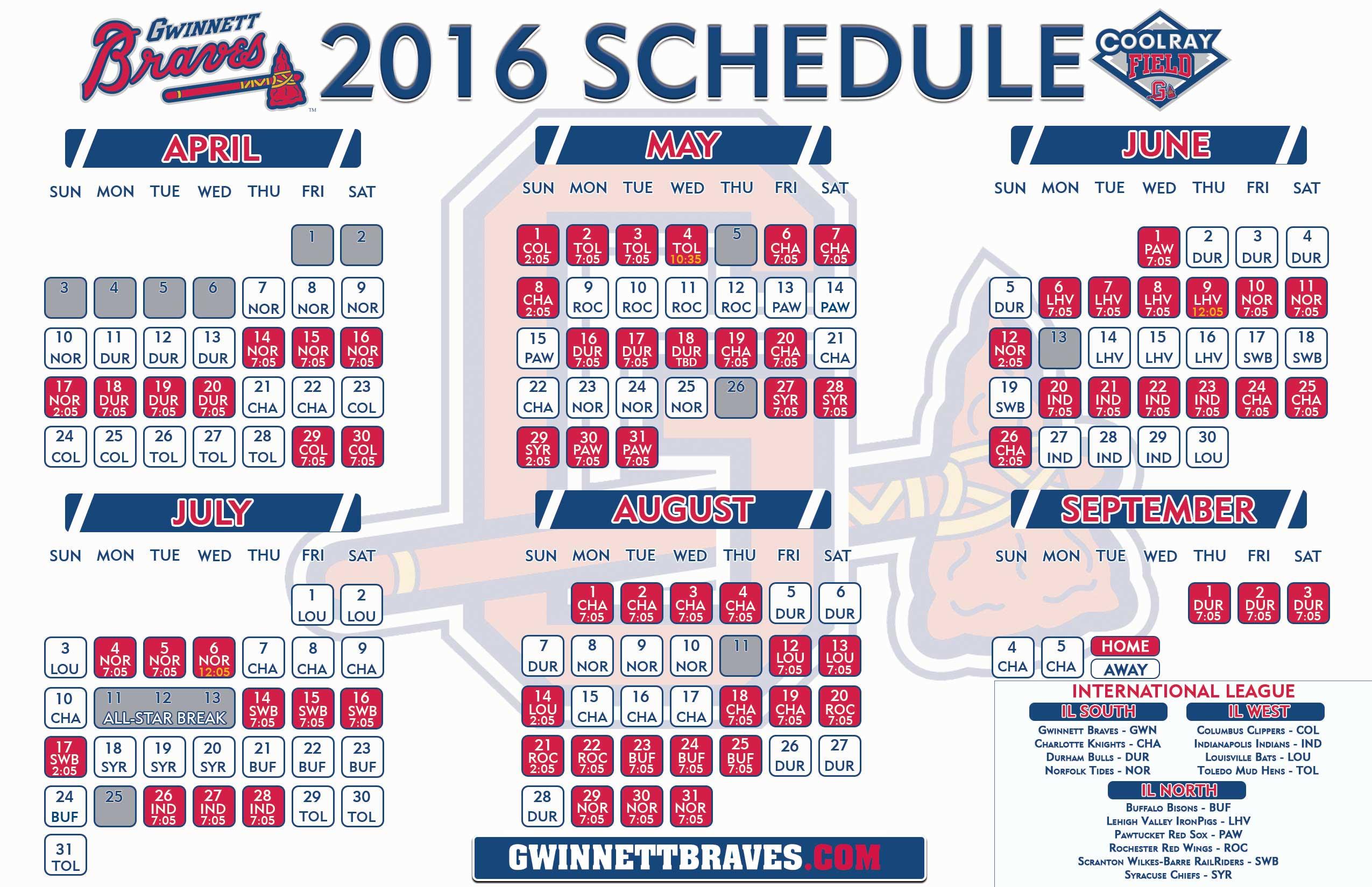 Gwinnett Braves 2019 Schedule Gwinnett Braves Announce 2016 Schedule | Gwinnett Stripers News