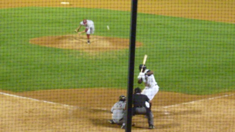 Hobbs Johnson pitches to Rock Shoulders in the eighth inning on Thursday night at Kane County.
