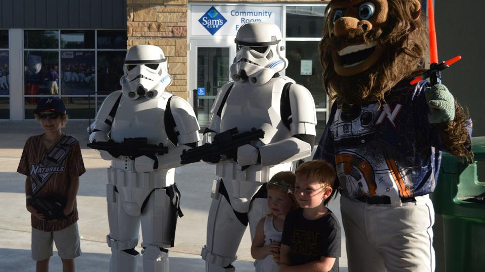 f244fc76b Fans get to interact with Star Wars characters and enjoy a post-game  Fireworks Spectacular on Star Wars Night at Arvest Ballpark. (NWA Naturals)