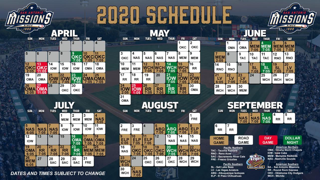 San Antonio Missions Announce 2020 Schedule