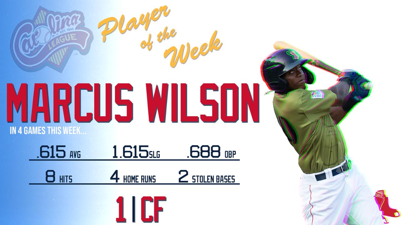 Marcus Wilson Named Carolina League Player of the Week