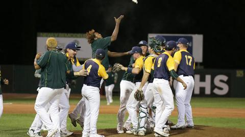 The Beloit Snappers celebrate after completing the second no-hitter in the Midwest League this season.