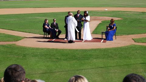 Congrats to Mr. and Mrs. Anderson, who tied the knot in an on field ceremony!