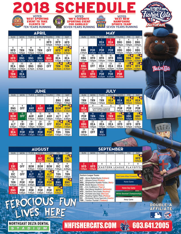 2018 Printable Schedule | New Hampshire Fisher Cats Tickets