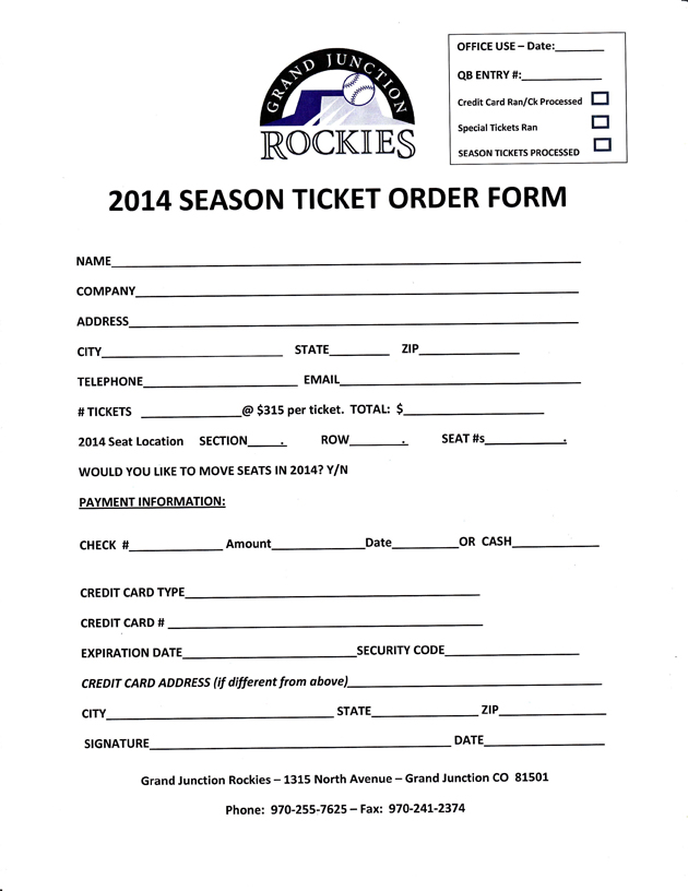 Season Ticket Price for Life | Grand Junction Rockies Tickets