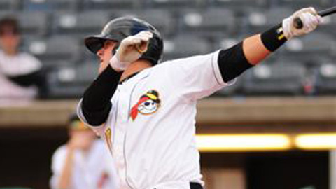 Stetson Allie leads the South Atlantic League in hits, homers, RBIs and total bases.