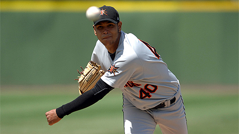 Eduardo Rodriguez is seventh in the Carolina League with 28 strikeouts.