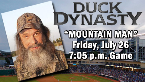 reality show Duck Dynasty will appear at the July 26 Spikes game