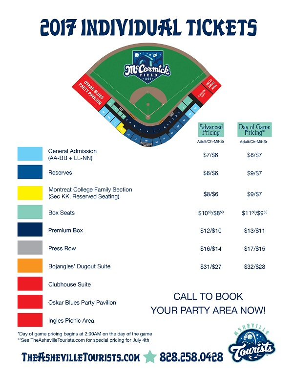 Individual Ticket Prices | Asheville Tourists Content