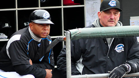 Chiefs manger Tony Beasley (L) and pitching coach Greg Booker (R) will return in 2013.