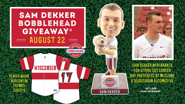 watch f96b0 9a9e8 Sam Dekker to Appear at Timber Rattlers Strike Out Cancer ...