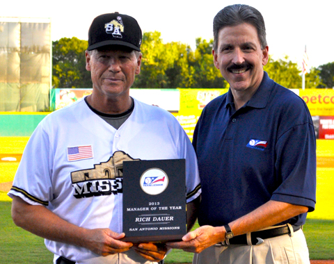 Missions Manager Rich Dauer is honored by Texas League President Tom Kayser as the 2013 Texas League Manager of the Year.