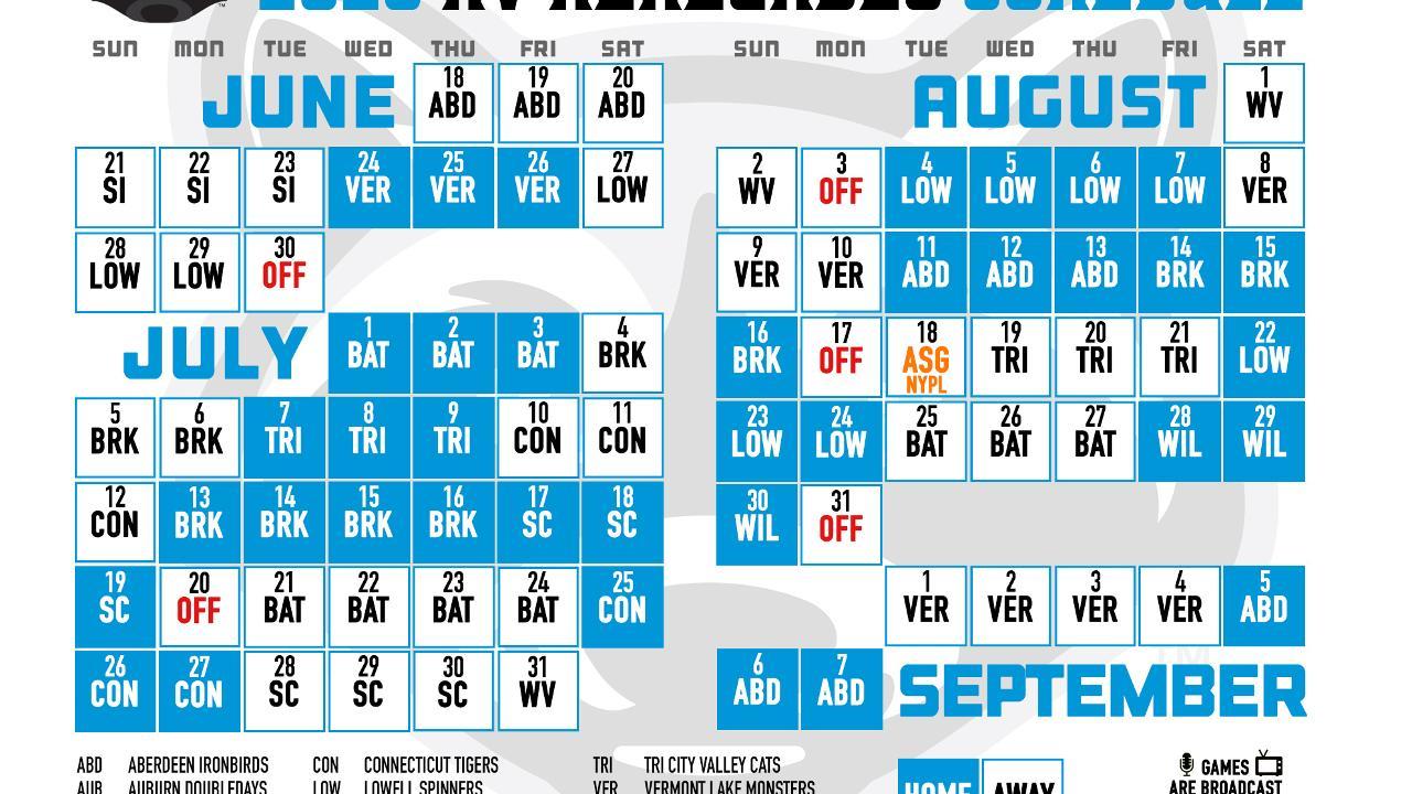 Renegades Release 2020 Schedule | Hudson Valley Renegades News