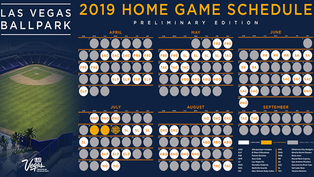 picture regarding Dodger Schedule Printable called Las Vegas Ballpark 2019 House Plan! Las Vegas Aviators Information
