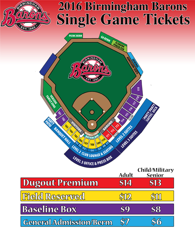 Single Game Ticket Information   Birmingham Barons Tickets