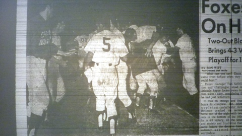 The Appleton Foxes celebrate Ken Hottman's game winning home run in the 1969 tie-breaker game.
