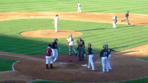 Victor Roache approaches home plate after his three-run homer in the sixth inning put the Timber Rattlers up 4-3 on the Clinton LumberKings in game one of Friday's doubleheader.
