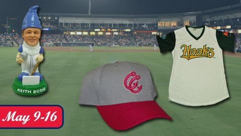 A Keith Bodie Garden Gnome, Hooks Pink Cap and a Green and Gold Hooks Jersey highlight the giveaways for the next eight games at Whataburger Field.
