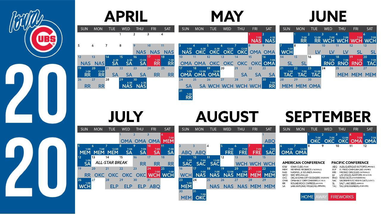 image about Cubs Printable Schedule identified as Iowa Cubs Announce 2020 Routine Iowa Cubs Information