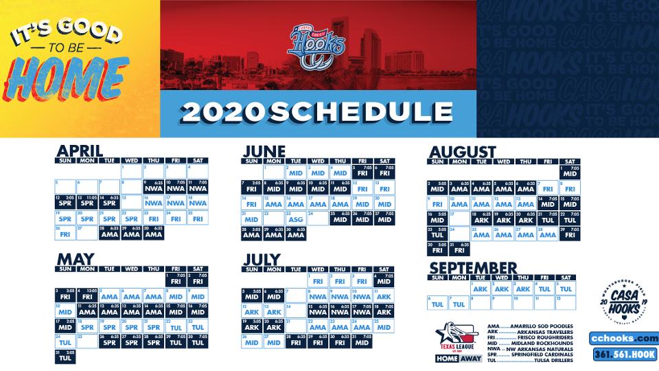 corpus christi hooks schedule 2020
