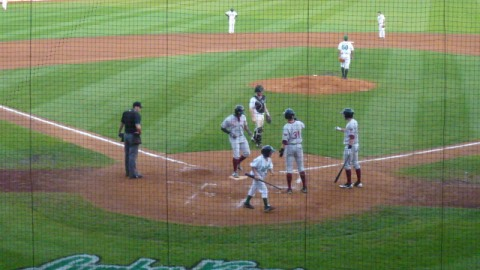 Victor Roache steps on home plate at Clinton on August 22 after his 21st home run of the season.