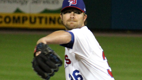 Kyle Drabek threw 61 pitches in his second game, first start, for the Bisons on Monday.