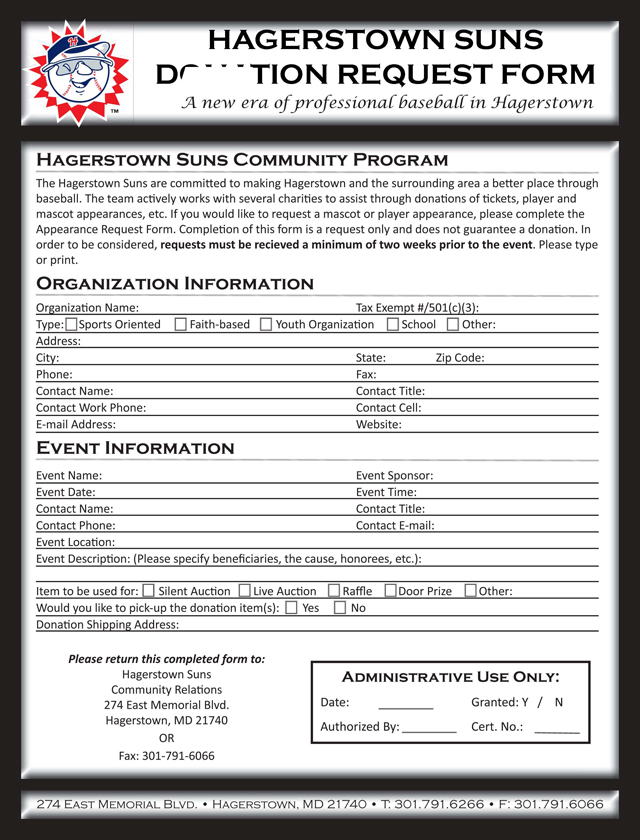 Appearance And Donation Requests | Hagerstown Suns Community