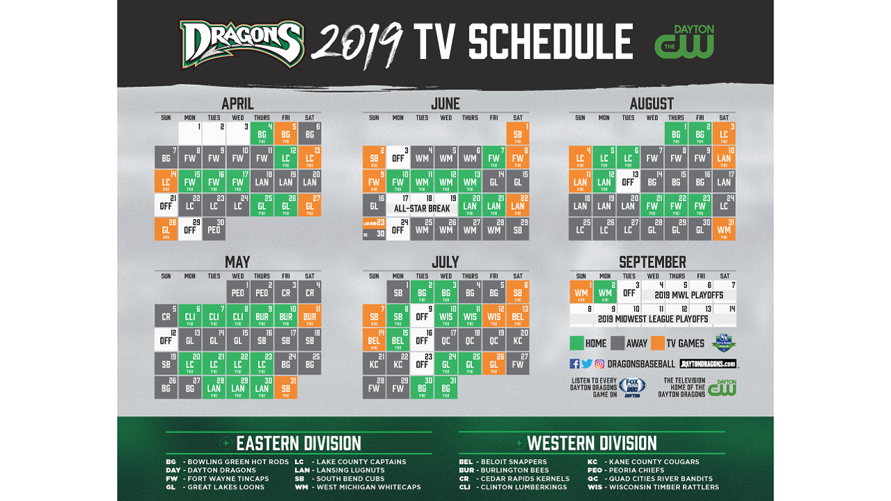 Dayton Dragons Schedule 2019 Dragons Announce 2019 TV and Radio Broadcast Information | Dayton