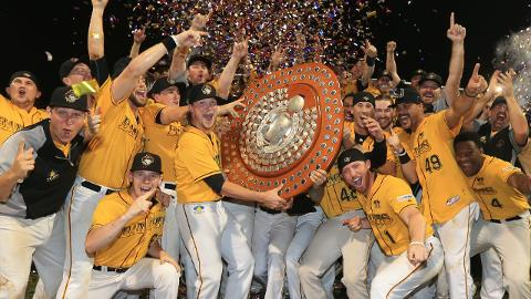 Bandits players celebrate Queensland's first championship since 2006, before the current ABL existed.