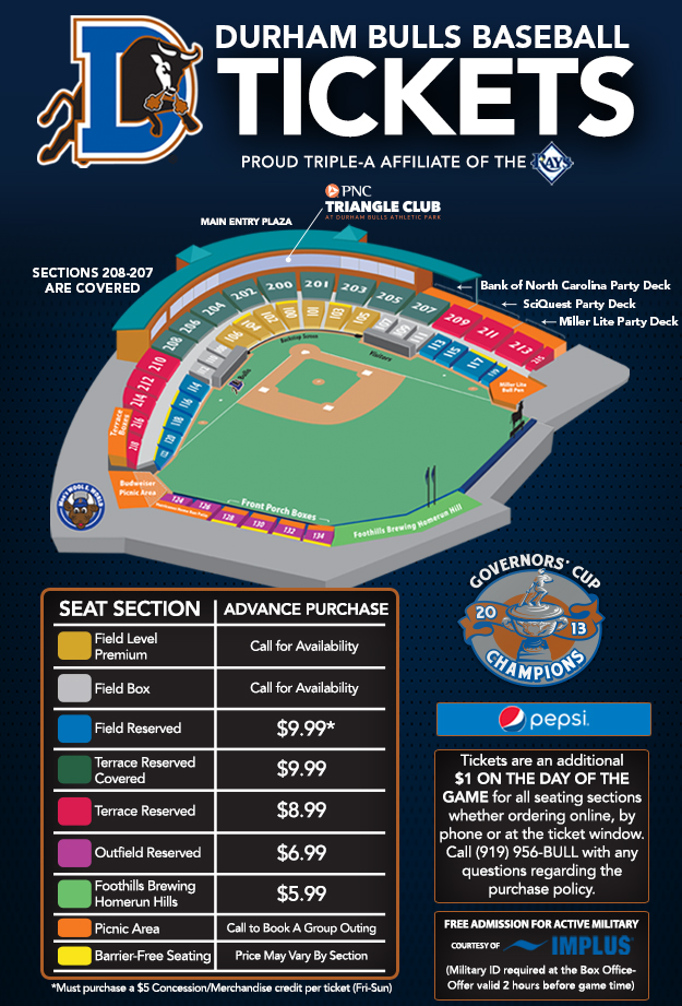 Seating And Pricing Map Durham Bulls Gameday