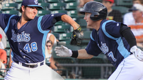 RHP Asher Wojciechowski (left) and OF Robbie Grossman could make their marks on the Hooks in 2013.