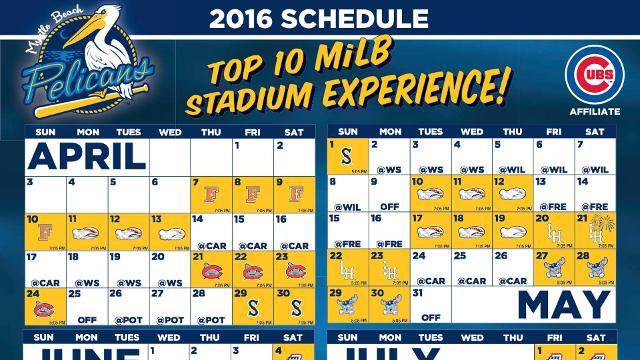 Myrtle Beach Pelicans 2020 Schedule Pelicans announce 2016 game times | Dayton Dragons News