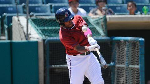 Delino DeShields drove in three runs including two on his first homer of the season Sunday.