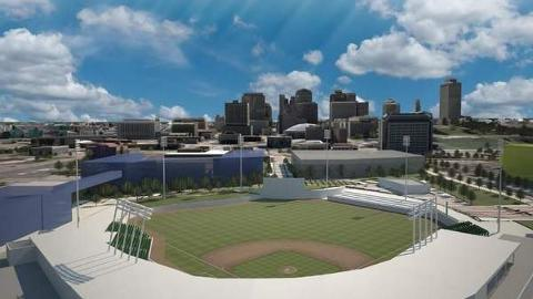 An illustration of the proposed Triple-A ballpark, north of downtown Nashville.