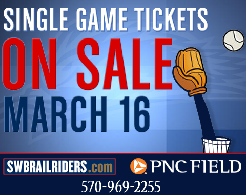 Come March 16, all fans can purchase single-game tickets at the PNC Field box office, by calling 570-969-2255 or on the web right here at swbrailriders.com.