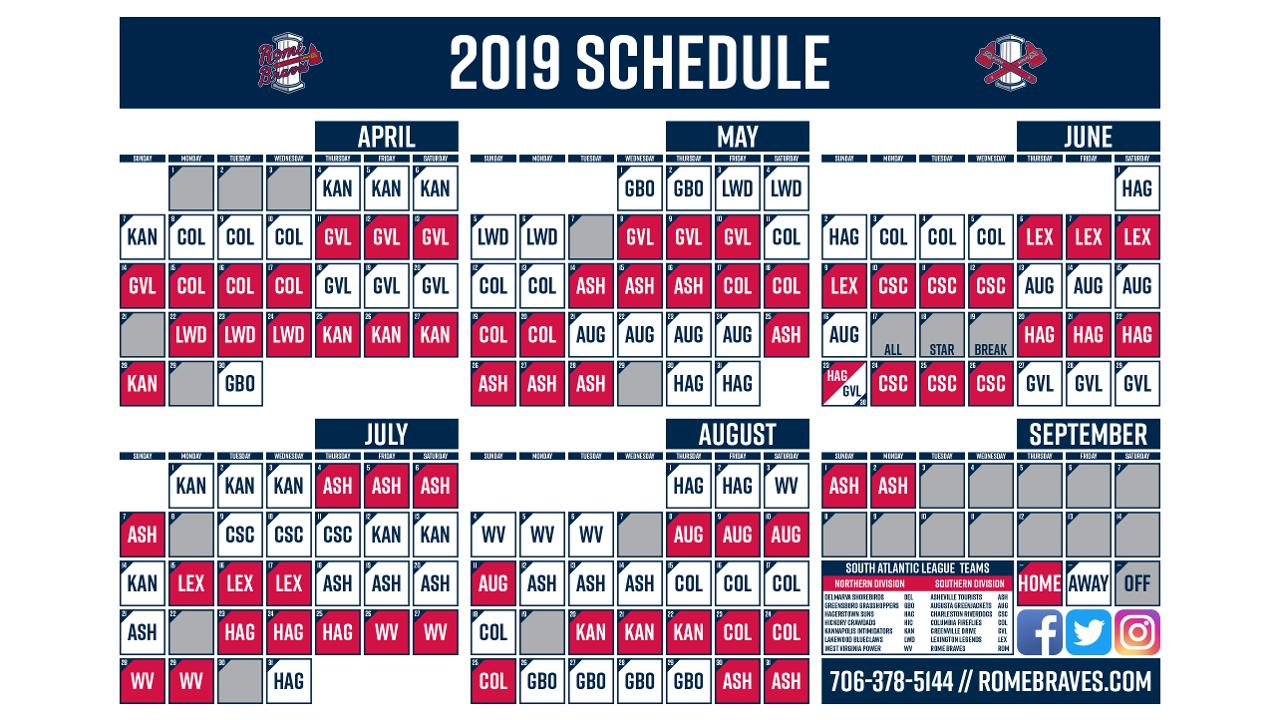 rome braves release 2019 schedule | rome braves news