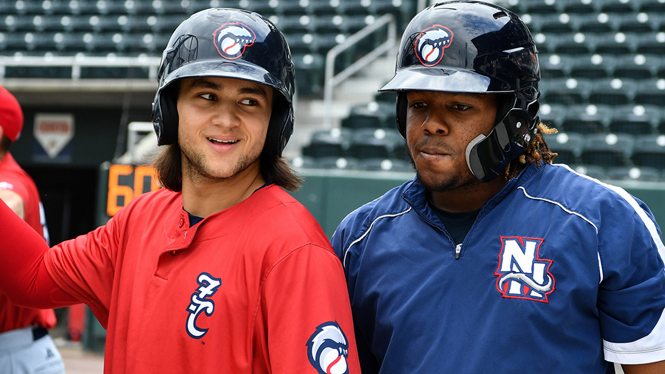 c58d18efccf Top Blue Jays prospects homer together for third time in careers. Bo  Bichette and Vladimir Guerrero Jr. ...
