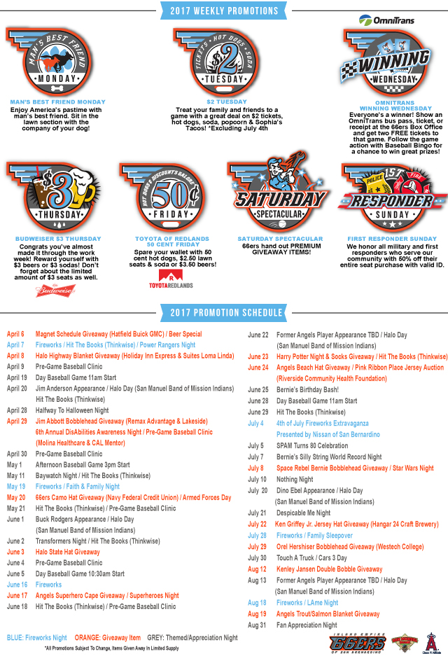 2017 promotions inland empire 66ers tickets