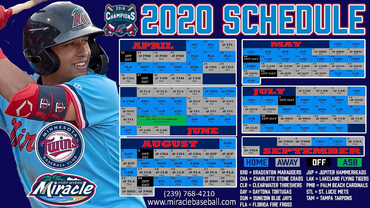 Mets 2020 Printable Schedule.Miracle Announce 2020 Schedule Fort Myers Mighty Mussels News