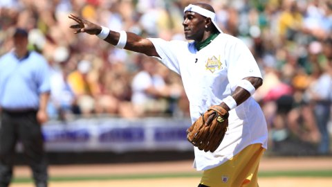 Donald Driver pitches during his 2012 Charity Softball Game.