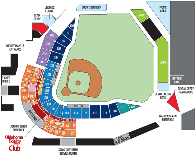 Seating Map Pricing Oklahoma City Dodgers Ballpark