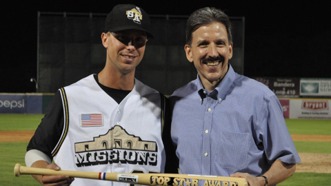 James Darnell, with Texas League president Tom Kayser, was named MVP.