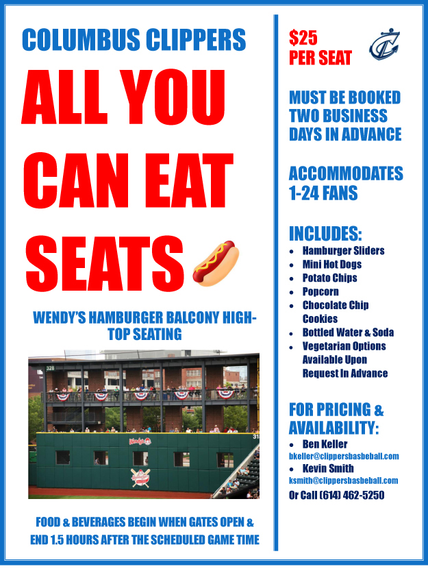 All You Can Eat Seats Columbus Clippers Tickets