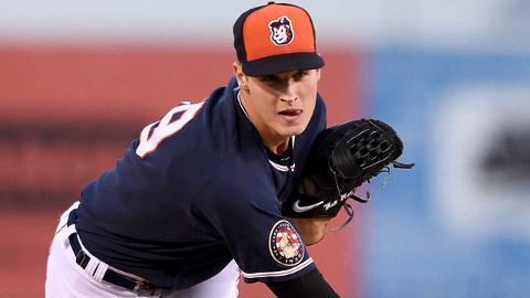 Tigers top prospect Matt Manning struck out nine of the 16 batters he faced in his Connecticut debut Tuesday.