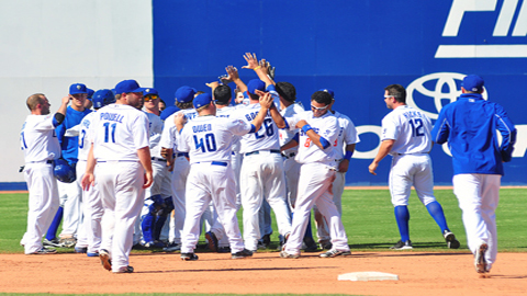The 51s celebrate a walk-off victory against the Sky Sox on April 14!