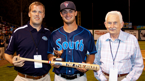 Sam Eberle is presented with the Top Star Award as All-Star MVP.