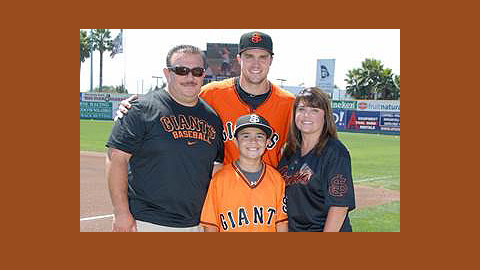 2012 San Jose Giants co-MVP Adam Duvall together with his host family.