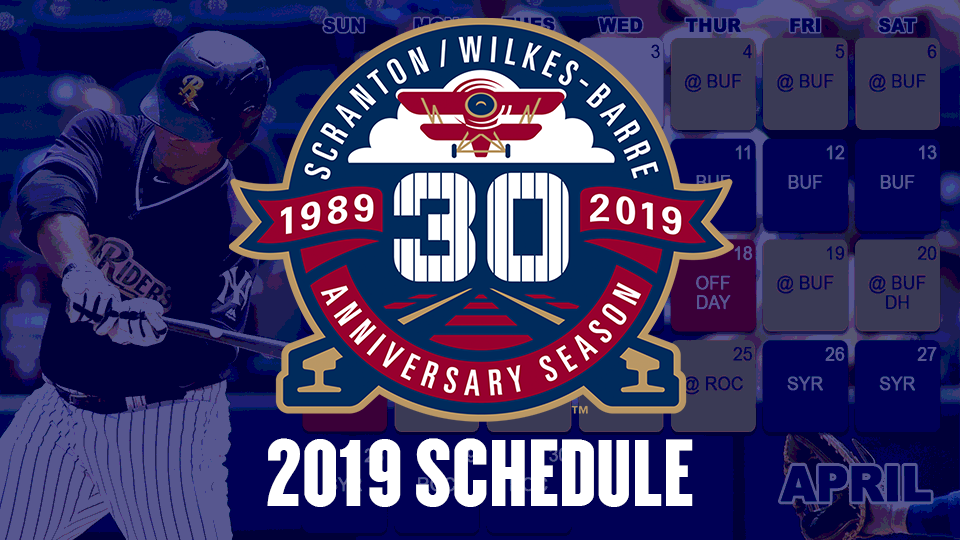 Railriders Schedule 2020 Season to Celebrate: 2019 Schedule Set | Scranton/Wilkes Barre