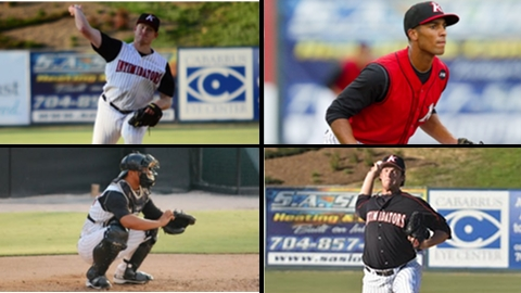 Erik Johnson (top left), Marcus Semien (top right), Miguel Gonzalez (bottom left), and Daniel Webb (bottom right) are the latest former Intimidators to reach the Major Leagues.